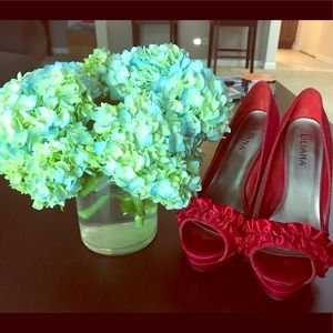 "Red Satin 5 1/2"" peep toe heels"